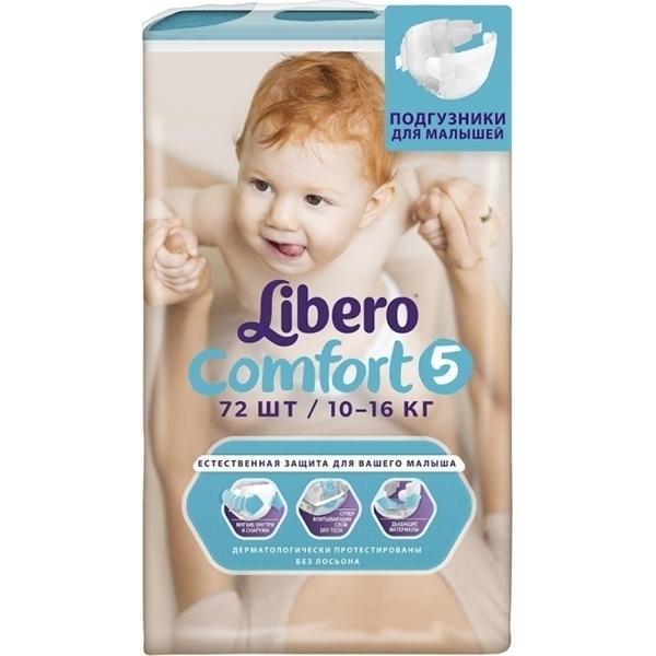 eca467a64b95 Детские подгузники Libero Comfort 5 Maxi plus, 10-16 кг, 72 штуки в ...