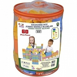 Конструктор Pilsan Jumbo Magic Blocks 60 деталей в ведре, 03-227